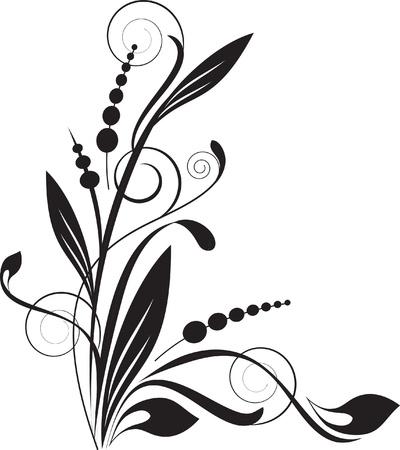 esquineros de flores: fondo floral con rama decorativo Vectores