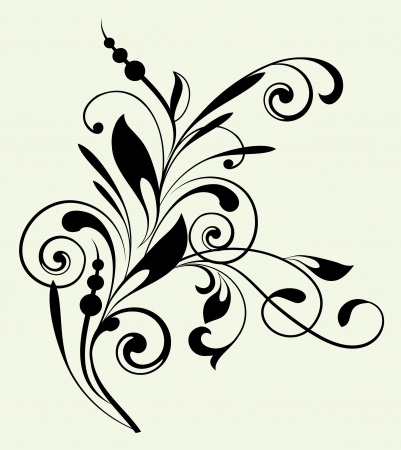 fantasy book: Floral pattern with decorative branch
