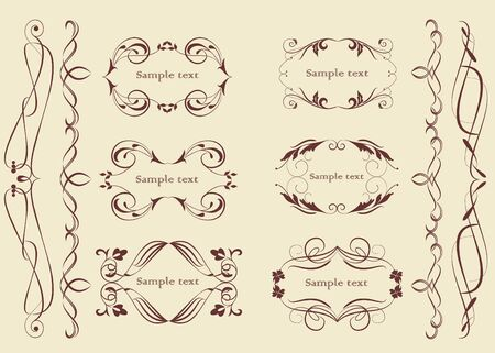 accent: Set of design elements in vintage style