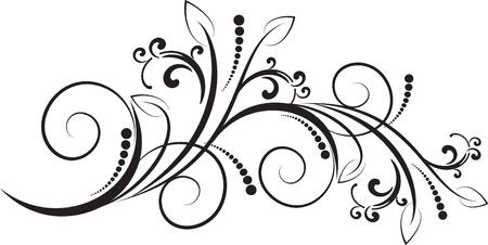 花柄装飾的な枝を持つ  イラスト・ベクター素材