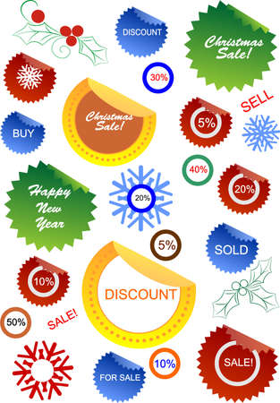 Christmas sale stickers and tags with discounts and snowflakes  Vector