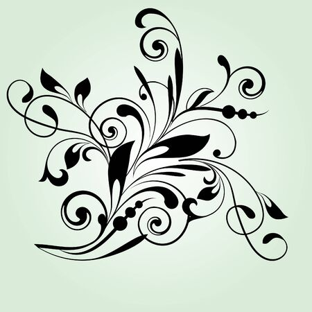 Floral pattern with decorative branch in vintage style Vector