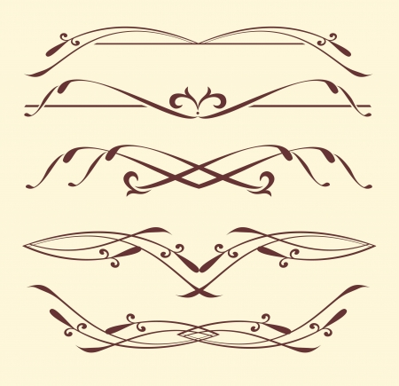 Set of dividers, ornamental rule lines  Vector