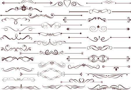 headpiece: Set of decorative calligraphic elements for editable and design