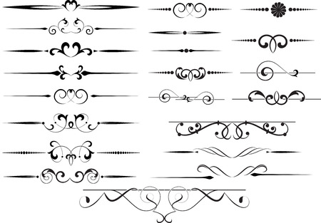 underline: Set of decorative calligraphic elements for editable and design