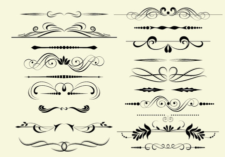 chapter: Set of decorative calligraphic elements for editable and design