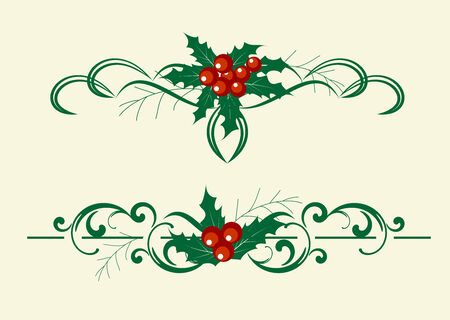 holly leaves: Christmas decoration holly set. Vector illustranion. Illustration