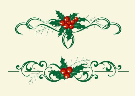 Christmas decoration holly set. Vector illustranion. Illustration