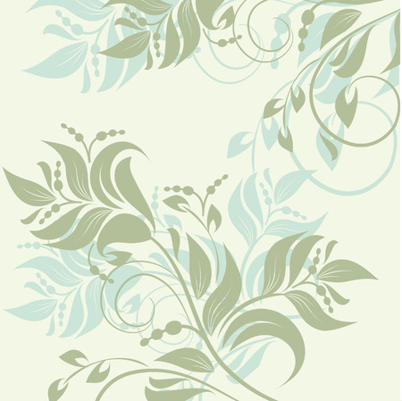 Floral background with decorative branch. Vector illustration. Vector