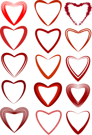 heartshaped: Valentines Day heart-shaped set. Vector illustration.