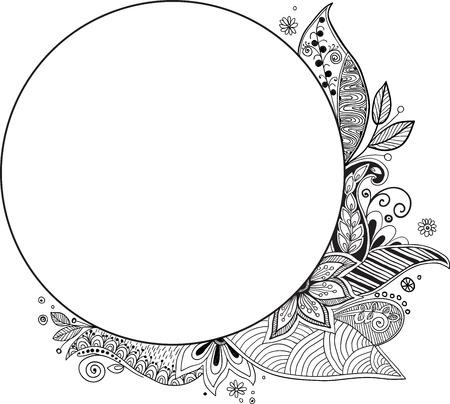 ovalo: Marco floral. Dibujado a mano zentangle. Ilustración del vector.