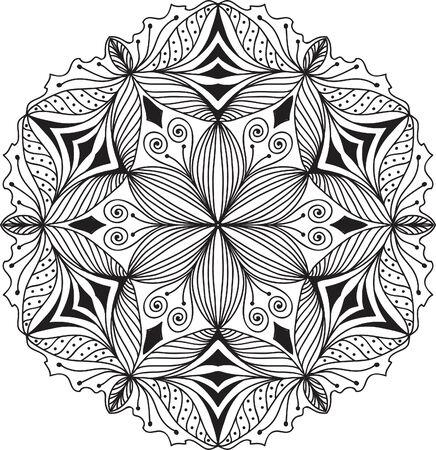 vintage border: Hand drawn background. Mandala. Geometric circle element.