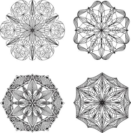 flower pattern: Set of doodle vector elements on white background