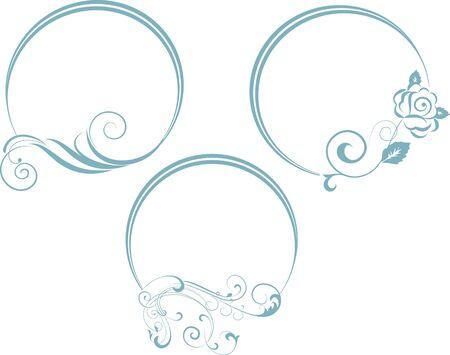 branche décorative avec cadre ovale. Vector illustration.