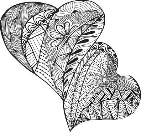 Mano Esbozo dos corazones de diseño. Ilustración de vector