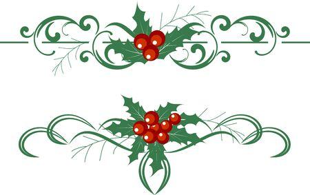 scroll: Christmas decoration holly set. illustration. Illustration