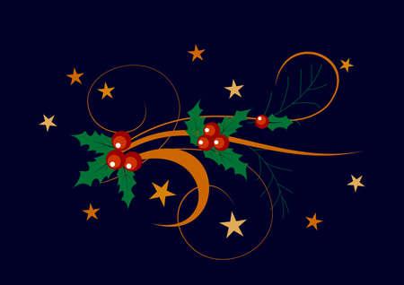 flower painting: Christmas decoration holly set. illustration. Illustration