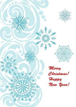 rime frost: Christmas card with snowflakes  Illustration