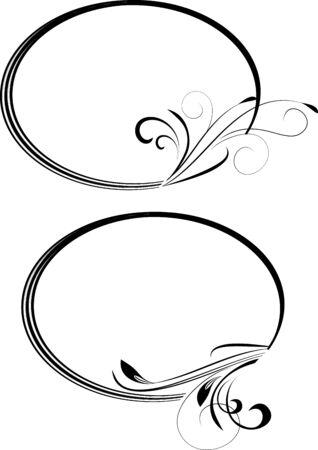 branche décorative avec cadre ovale. illustration.