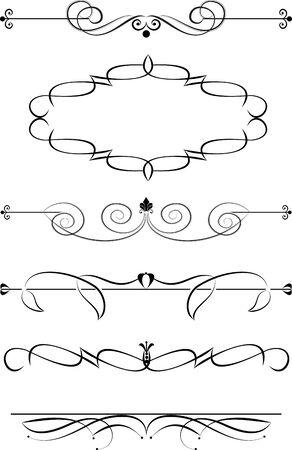 grecas: Conjunto de elementos caligráficos decorativos para editar y diseño Vectores