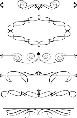 fretwork: Set of decorative calligraphic elements for editable and design