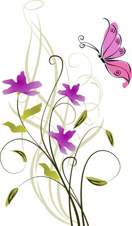 greeting card background: Greeting card . Floral background with violet blossom.
