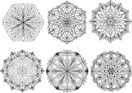 ornamental: Hand drawn, stylized, set of mandala. Illustration