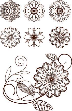 fretwork: Set of hand drawn elements for design