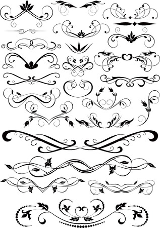gothic style: Set of small decorative calligraphic elements for design Illustration