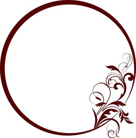 Cornice rotonda con ramo decorativo.