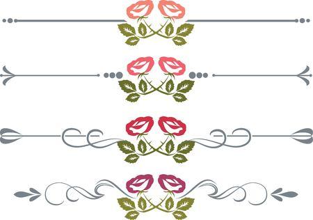grecas: Conjunto de elementos de diseño con rosas vectorizado Vectores