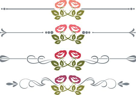fretwork: Set of design elements with roses vectorized Illustration