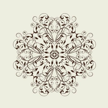 Ornamental floral element for design in vintage stile.