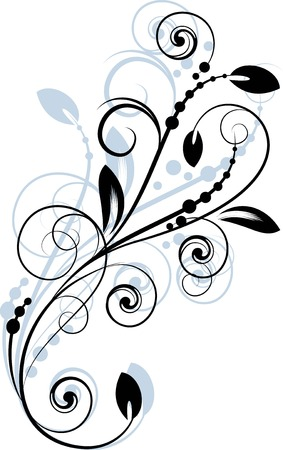 abstract flowers: Floral background with decorative branch. Illustration