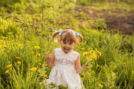 A portrait of a cheerful little girl posing in the field of dandelions.