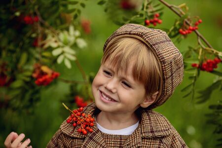 A little cheerful girl with Rowan berries on her head in a brown costume. Stok Fotoğraf