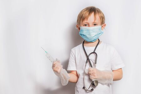 Cute Little Girl in medical mask with stethoscope isolated banner Stock Photo