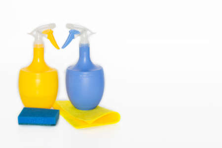 containers for household chemicals.Colorful plastic containers for household detergents, home chemistry.