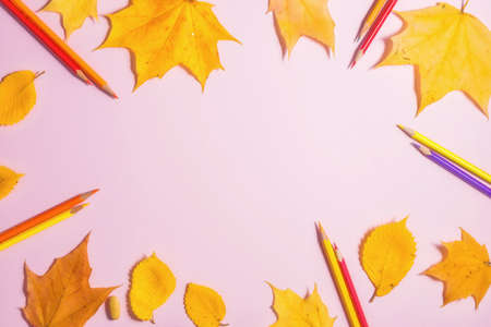 .Autumn fallen foliage and stationery on pink background