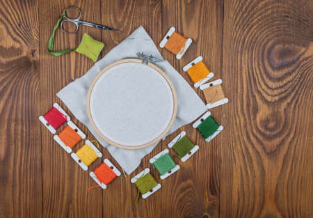 Hoop for cross stitch with stretched canvas,mockup for the designer