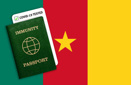 Immunity passport and test result for COVID-19 on flag of Cameroon. Certificate for people who have had coronavirus or made vaccine. Vaccination passport against covid-19 that allows you travel