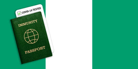 Concept of Immunity passport, certificate for traveling for people who had coronavirus or made vaccine and test result for COVID-19 on flag of Nigeria
