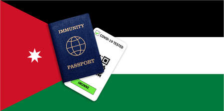 Concept of Immunity passport, certificate for traveling after pandemic