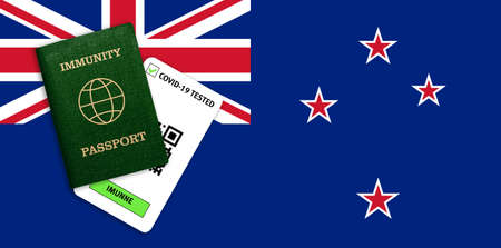 Concept of Immunity passport, certificate for traveling for people who had coronavirus or made vaccine and test result for COVID-19 on flag of New Zeland