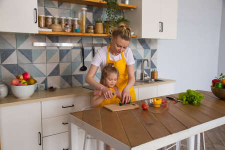 Portrait of mother with her preschool-aged caucasian daughter in yellow aprons preparing a healthy salad together for lunch. The child learns to cook with parent. Spending time with children at home. Foto de archivo