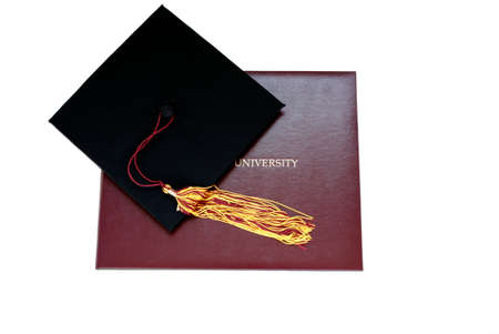 mortar cap: Graduation cap and university diploma