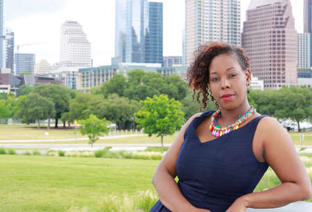 African American woman on Austin Texas cityscape