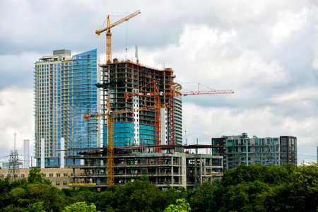 modern residential construction: Construction of new modern building Stock Photo