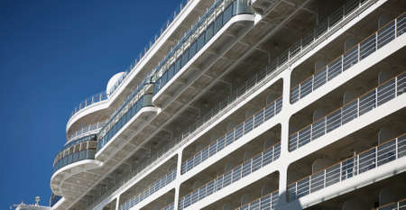 illuminator: Dream vacation: cruise ship on blue sky background Stock Photo