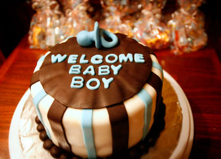 baby shower: Welcome Baby Boy cake for new born celebrations